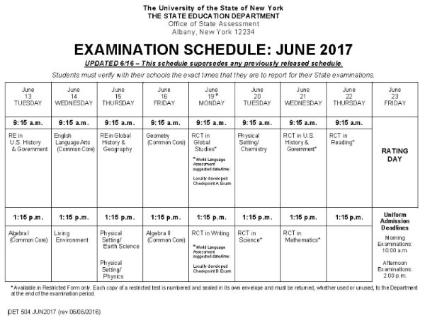 NYS Regents Exams June 2015 Schedule