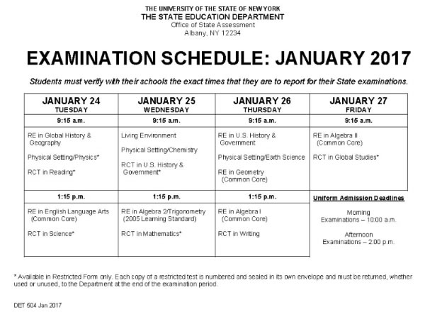 NYS Regents Exams January 2017 Schedule
